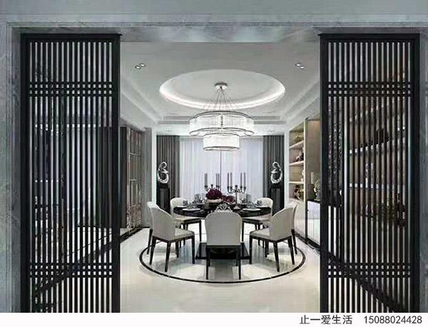 室内外格栅用,新中式装修的特点常常是使用一些现代化材料作为表现